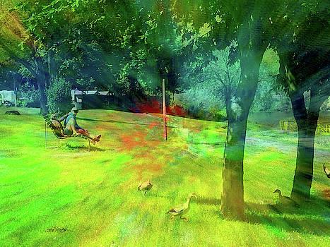 Sitzend auf Bank mit EntenMosel Art 1 by Andreas Hoetzel