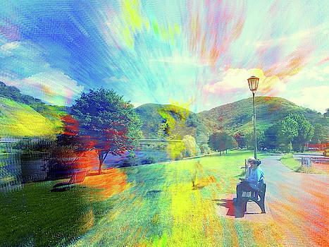 Sitzend auf Bank  Mosel Art2 by Andreas Hoetzel