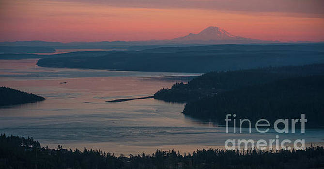 Skagit Bay and Mount Rainier Sunset by Mike Reid