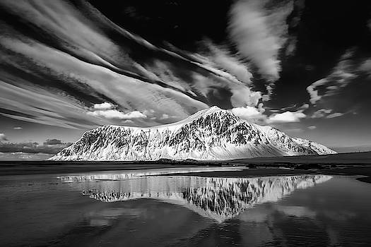 Skagsanden Beach Reflection bw by Jerry Fornarotto