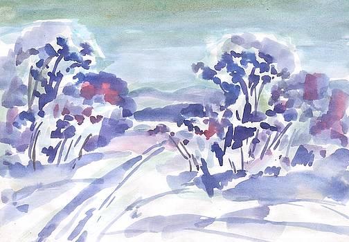 Ski track in the morning forest by Irina Dobrotsvet