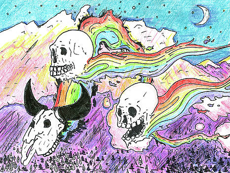 Rainbow Skulls by Twilight  by Walter Johndad