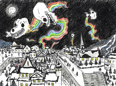 Rainbow Skulls by Night by Walter Johndad
