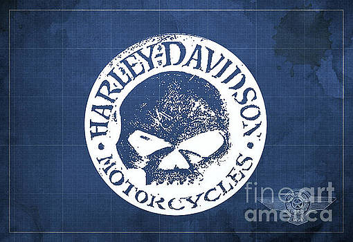 Skull Harley Davidson Tank Logo Blue Background by Drawspots Illustrations
