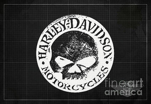 Skull Harley Davidson Tank Logo Dark Grey Background by Drawspots Illustrations