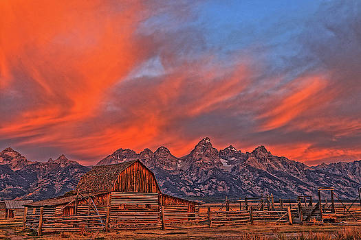Sky Blaze Over The Tetons by Scott Mahon