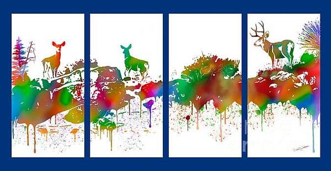Skyline Deer Habitat 4pc Panel by Dale E Jackson