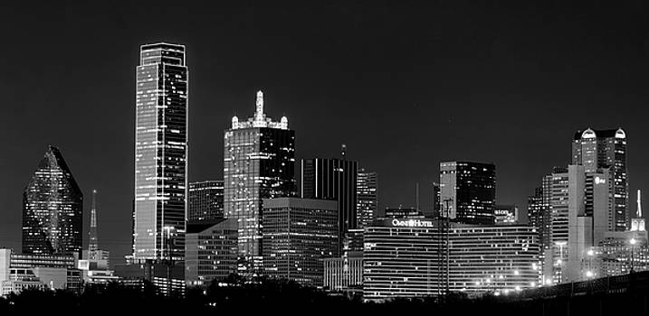 Skyline of Dallas B W 041719 by Rospotte Photography