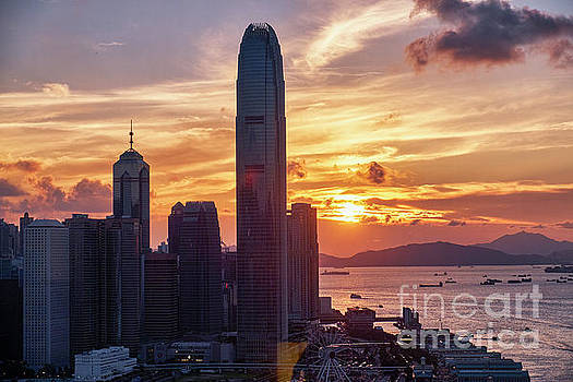 Skyscrapers of Hong Kong at Sunset by George Oze