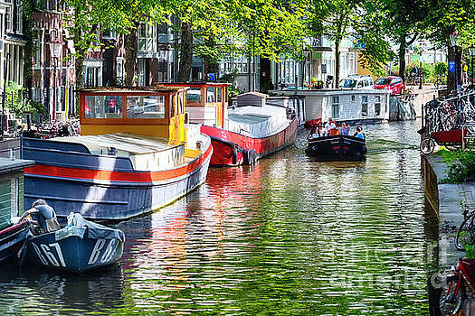 Small Canal in Amsterdam During Summer by George Oze