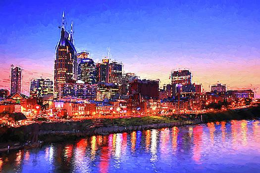 Nashville Southern Lights Painting by Carol Montoya