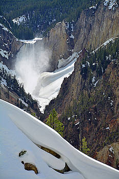 Snow Art and Yellowstone's Lower Falls by Bruce Gourley