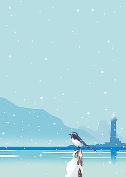 Snowing Harbor by Ryuji Kawano