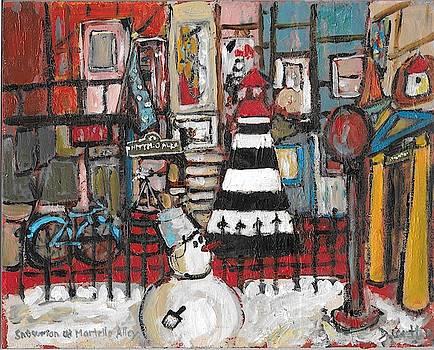 Snowman at Martello Alley by David Dossett