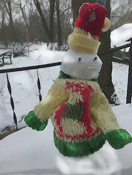 Snowman At My Table In A Sweater by Cindy Boyd