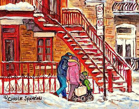 Snowy Staircase Montreal Winter Scene Painting Red Steps Strollers C Spandau Plateau To Verdun Art by Carole Spandau