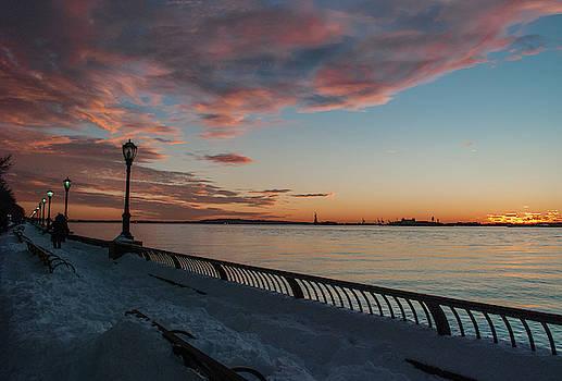 Snowy Sunset Scene by Traci Asaurus