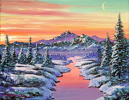 Snowy Winter River by David Lloyd Glover