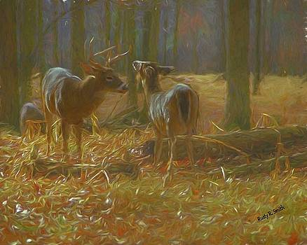 Soft art photograph of a whitetailed buck and doe. by Rusty R Smith