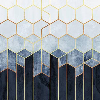 Soft Blue Hexagons by Elisabeth Fredriksson