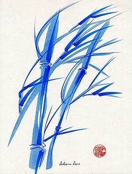 Soft Breeze - Sumie INk Brush Pen Bamboo Painting by Rebecca Rees