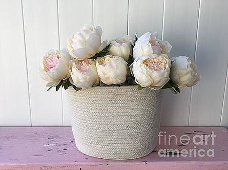 Soft Pink Peonies in Basket by Jeannie Rhode