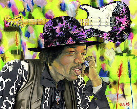 Sonic Exploration - A Jimi Hendrix Portrait by Ebenlo - Painter Of Song