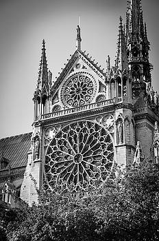 RicardMN Photography - South facade and rose window of Notre-Dame de Paris before the fire of 2019 BW