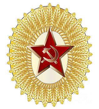 Soviet Officer Metal Cap Badge by Bigalbaloo Stock