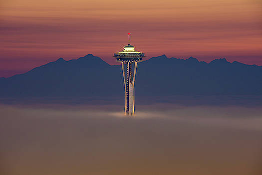 Space Needle In The Fog At Sunset by Matt McDonald