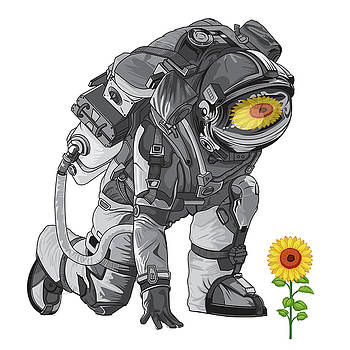 Space Travel Astronaut Universe Moon Flower by Tony Rubino