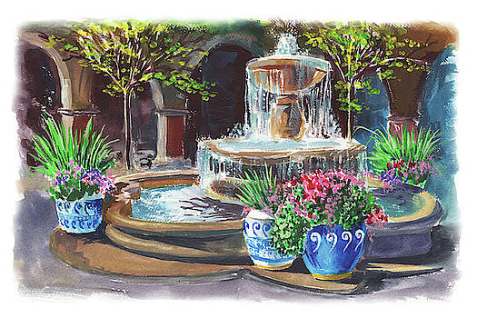 Spanish Fountain Courtyard by Irina Sztukowski
