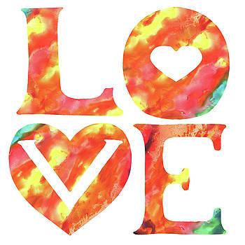 Irina Sztukowski - Splash Of Love Sign Watercolor Silhouette Letters Hearts