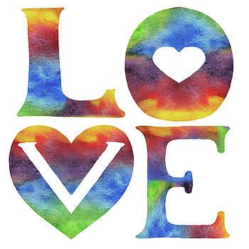 Irina Sztukowski - Splashing Love Sign Watercolor Silhouette Letters Hearts