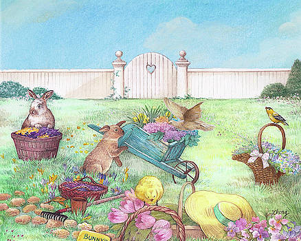 Spring Bunnies, Chick, Birds by Judith Cheng
