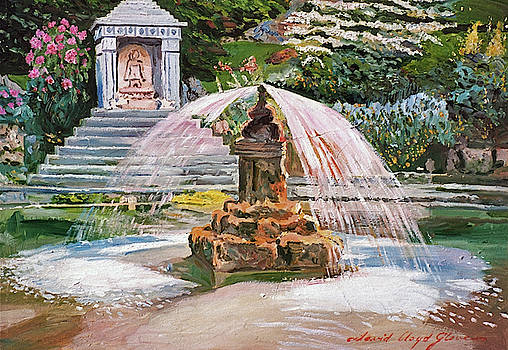 Spring Fountain And Pond by David Lloyd Glover