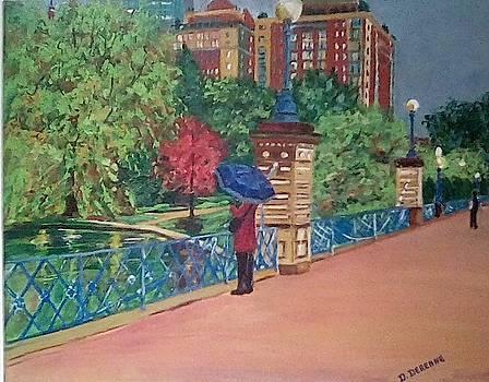 Spring Showers on Boston Public Garden's Lagoon Bridge by Dominique Derenne
