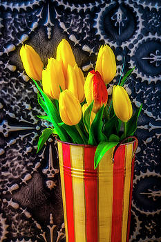 Spring Tulips In Striped Bucket by Garry Gay