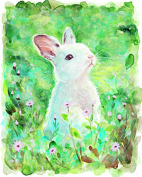Spring's Blessing Beautiful Watercolor Bunny Rabbit by Theresa Stites