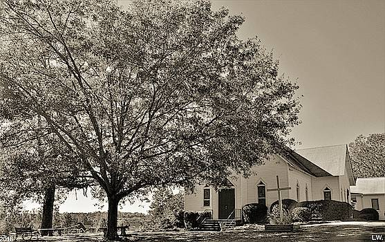 St. John Lutheran Church And Cemetery Irmo South Carolina Black And White by Lisa Wooten