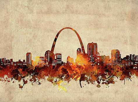 St Louis Skyline Sepia by Bekim Art