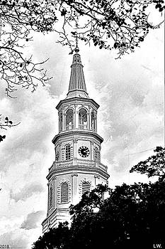 St. Michael Episcopal Church Steeple Black And White by Lisa Wooten