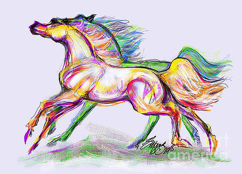 Crayon Bright Horses by Stacey Mayer