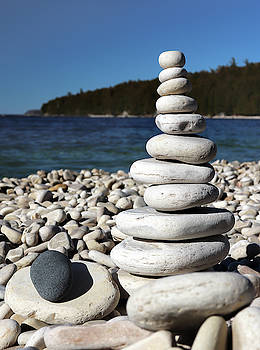Stacked Stones at Pebble Beach by David T Wilkinson