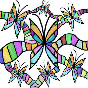 Stained Glass Butterflies by Priscilla Wolfe