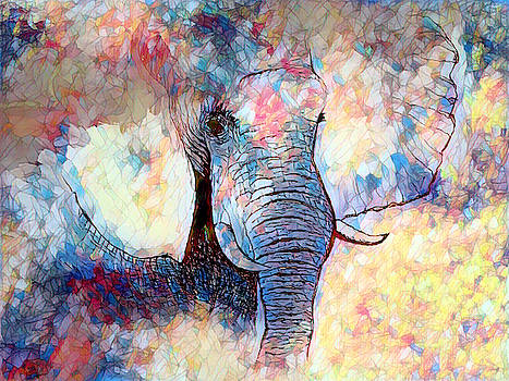 Stained glass Elephant by Abstract Angel Artist Stephen K