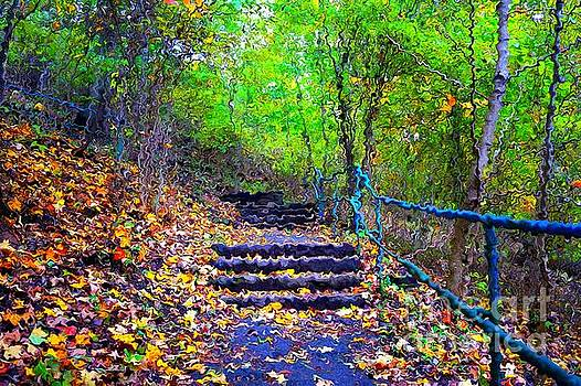 Staircase in the forest in Van Gogh Style by Christopher Shellhammer