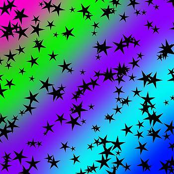 Star Silhouettes on Neon by Abagail Wells