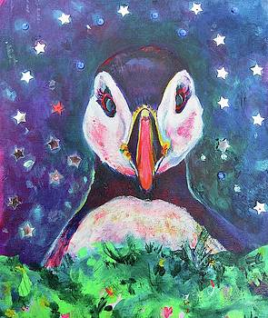 Starry Night Puffin by Karin McCombe Jones