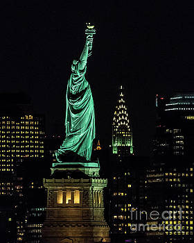Statue of Liberty and Chrysler Building by Zawhaus Photography